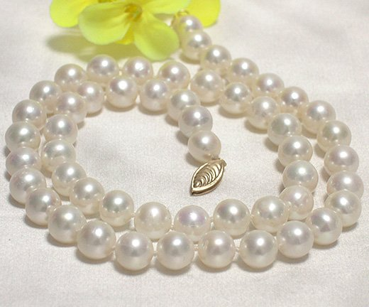 LUSTER 7.5-8mm WHITE CULTURED PEARL NECKLACE 14KCLASP
