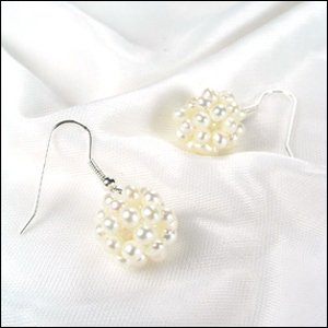 PRETTY ROUNDNESS WHITE PEARL EARRINGS 925S