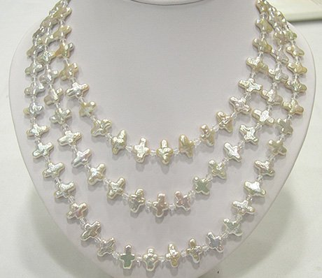 RARE 3ROW 5-15MM Latin Cross CULTURED PEARL NECKLACE