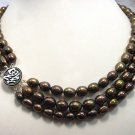 RARE 3ROWS Genuine Cultured Deep Coffee Necklace 925S