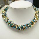 RARE flowery 5rows multi-color cultured pearl necklace
