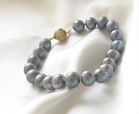 ROUND 7'' 7-8MM BLACK CULTURED PEARL BRACELET