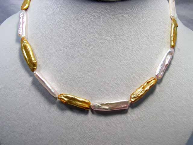 Rare single row Golden-Pink Cultured Pearl NECKLACE