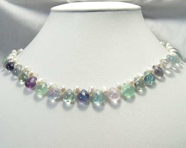 SINGLE GENUINE PEARL FLUORITE STONE HEART NECKLACE