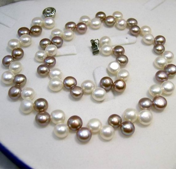 SINGLE WHITE PURPLE GENUINE CULTURED PEARL Necklace