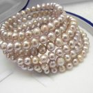 STUNNING 6Rows LAVENDER Cultured Pearl Bracelet