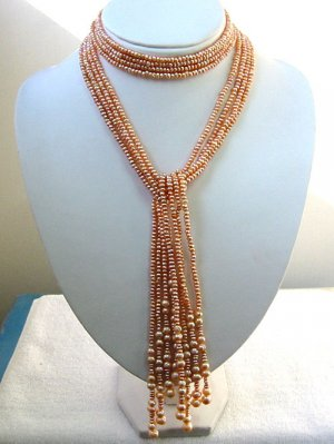 STUNNING pink 47'' 4-PCS Genuine Cultured Pearl Necklace