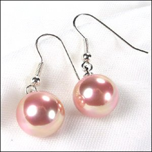 SUPERB 10MM PINK SOUTH SEA SHELL PEARL ERS 925S