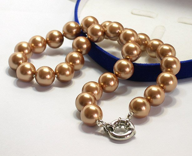 SUPERB 14MM COFFEE SOUTH SEA SHELL PEARL NECKLACE