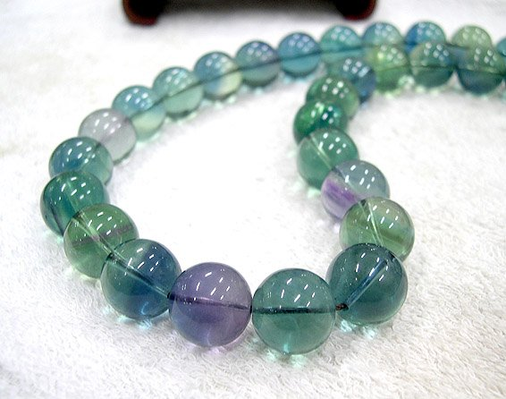 SUPERB 20'' 16MM NATURAL FLUORITE QUARTZ NECKLACE