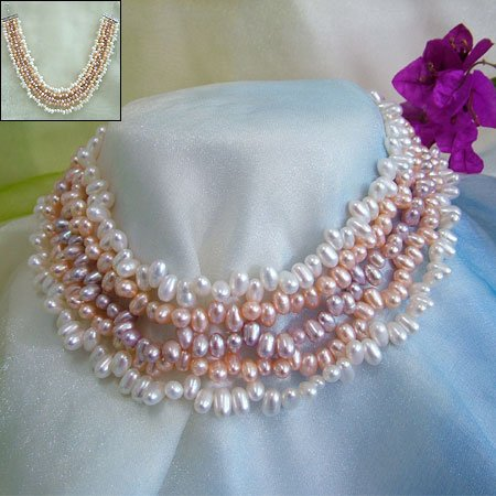 SUPERB 5ROWS 3-COLOR CULTURED PEARL NECKLACE 925