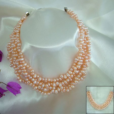 SUPERB 5ROWS PINK CULTURED PEARL NECKLACE 925