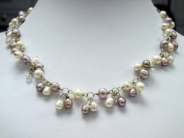 Stylish with illusion Cultured Pearl NECKLACE 925s