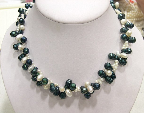 UNIQUE 2rowS white BLUE cultured pearl necklace 925S