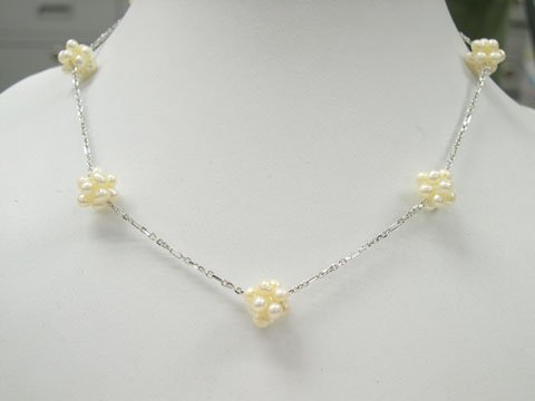Unique 16'' single stand little pearl ball Necklace 925S