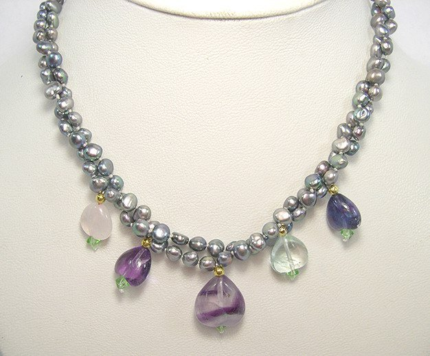 Unique 2rows SILVER-GREY Cultured Pearl & FLUORITE Necklace