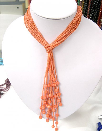Wholesale 40'' 6-PCS nacarat coral Necklaces