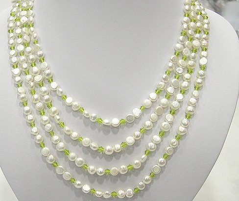 WHOLESALE 50'' 2-PCS WHITE CULTURED FW PEARL NECKLACES