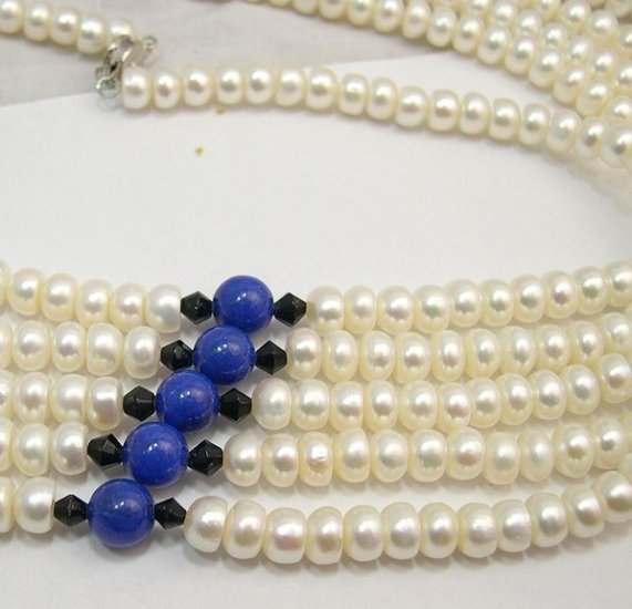 Wholesale 17'' 5pcs White Cultured Pearl Necklaces 925s