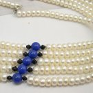 Wholesale 17'' 5pcs White Cultured Pearl Necklaces 925s