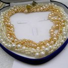 Wholesale 2pcs 3+1Rows CULTURED PEARL NECKLACES