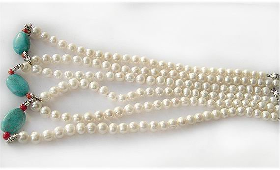 Wholesale 3pcs 7-8mm culture pearl turquoise necklace