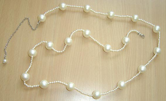 beautiful 35'' white cultured Pearl waist chain