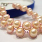 charming 2row 7.5'' pink FW Cultured Pearl bracelet