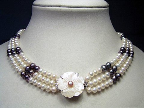 charming 3rows white black cultured pearl necklace