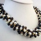 elegance 18'' 3rows cultured pearl & crystal necklace