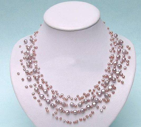 lavender genuine cultured Pearl Necklace