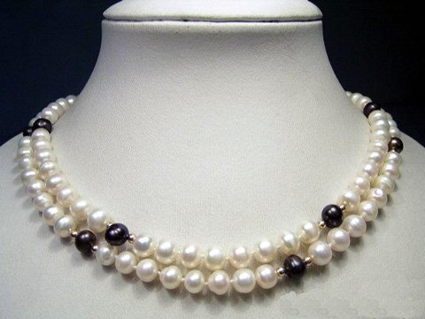 long 36'' 6-8mm natural color cultured pearl necklace