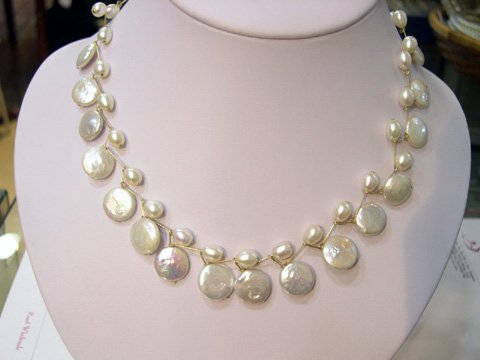 particular 16'' disk white FW CULTURED PEARL NECKLACE
