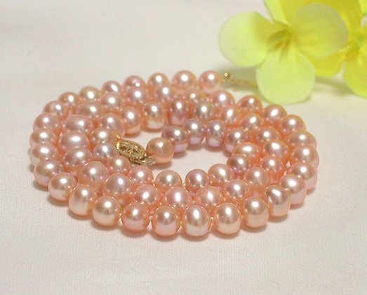 single 16'' 5.5-6.5mm pink cultured pearl NECKLACE 9k