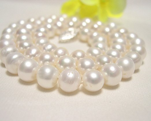 single 16'' 6.5-7.5mm WHITE cultured pearl NECKLACE