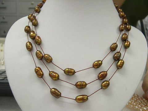 stylish 17-19'' 3rows Coffee cultured pearl silk Necklace