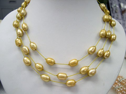 stylish 17-19'' 3rows champagne cultured pearl silk Necklace