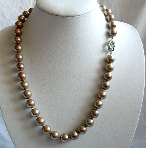 superb 20'' 12mm coffee south sea shell pearl necklace