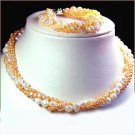 unique 3rows White PINK Genuine Cultured Pearl Necklace