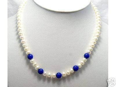 wholesale 17'' 5-pcs white Cultured Pearl&gems Necklace