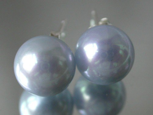 Beauty 10mm lavender Seashell pearl silver stud earring