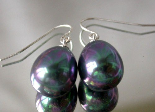 Beauty 10x15mm black shell pearl earring-silver hook
