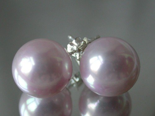 Beauty 12mm lavender Seashell pearl silver stud earring