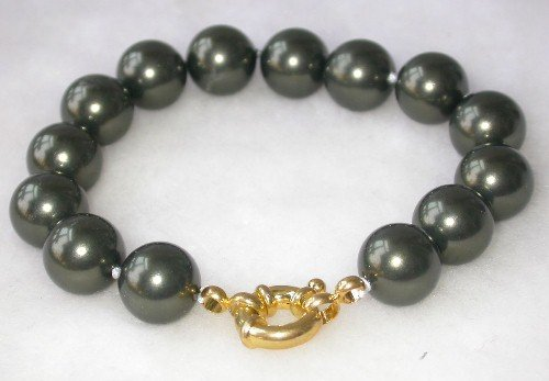 Beauty 7.5'' 12mm black seashell pearl bracelet