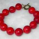Beauty 7.5'' 14mm red Seashell pearl silver clasp bracelet