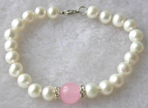 Beauty 7.5'' 7-8mm white pearl pink jade bracelet