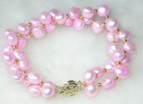 Beauty 7.5'' double 8-9mm baby pink pearl bracelet-9K clasp