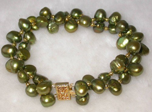 Beauty 7.5'' double 8-9mm bottle green pearl bracelet
