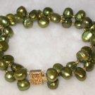 Beauty 7.5'' double 8-9mm bottle green pearl bracelet