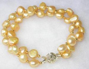 Beauty 7.5'' double 8-9mm yellow pearl bracelet-9K clasp